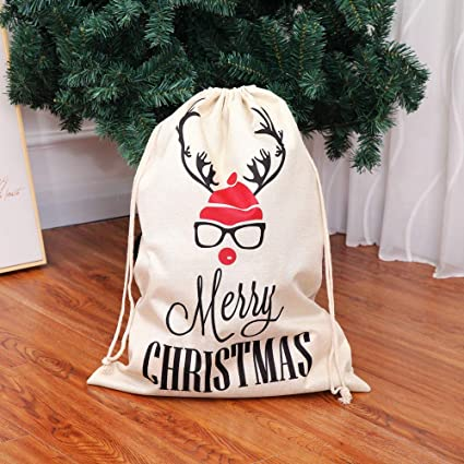 Bolsas de regalo grandes de arpillera con cordón impreso de ...