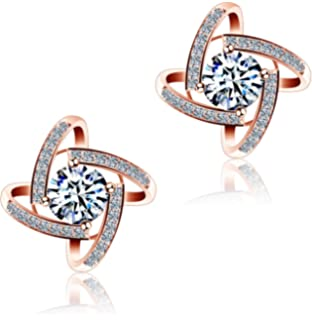 ce6f00414d94 DASATA Women s Purple White 925 Sterling Silver Stud Earrings For Party  Wedding
