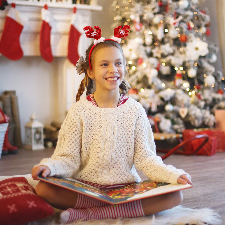 Blulu 6 Piezas de Diadema de Navidad Sombrero de Fiesta de Navidad Diadema de Disfraz en Forma de Cuernos de Reno Elfo para Favor de Fiesta de Navidad