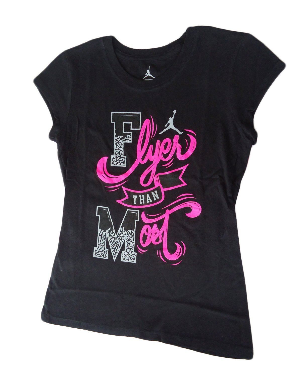 NIKE Jordan Girls Short Sleeve T Shirt Top Flyer Than Most (M, Black)