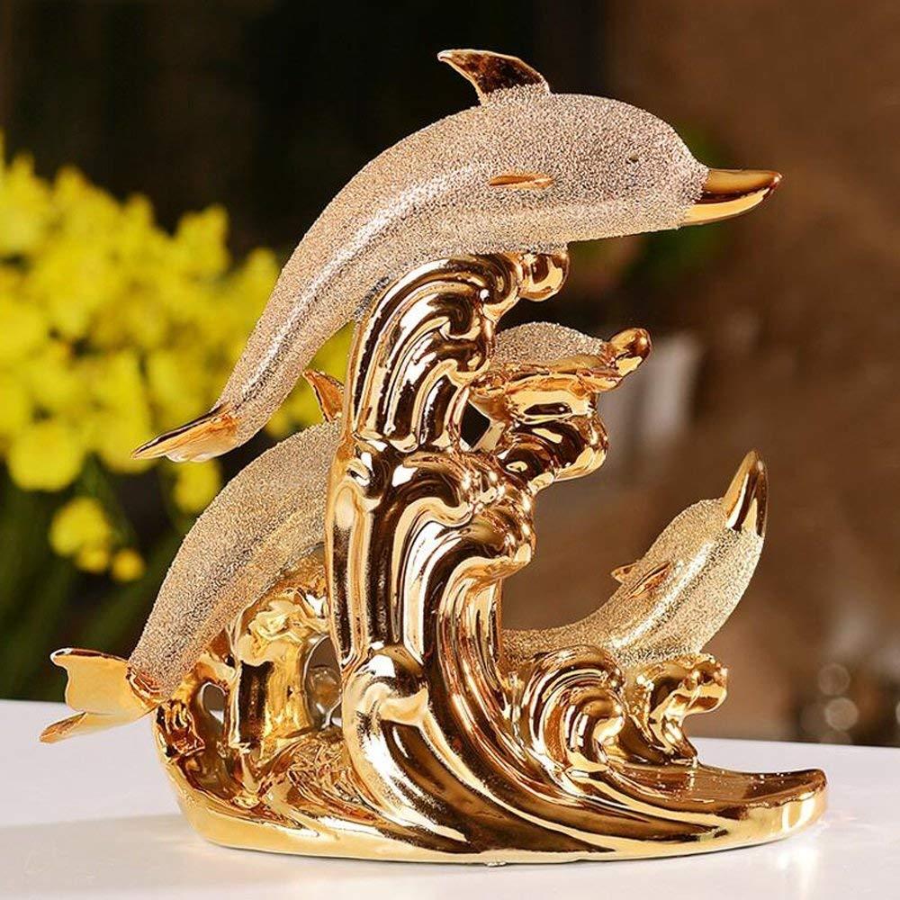 MVW Skulpturen der modernen minimalistischen Hochzeit Dekoration Keramik Vergoldete Delphine Deko basteln Kreative Schlafzimmer Bett Wohnzimmer Artwork Desktop Dekoration