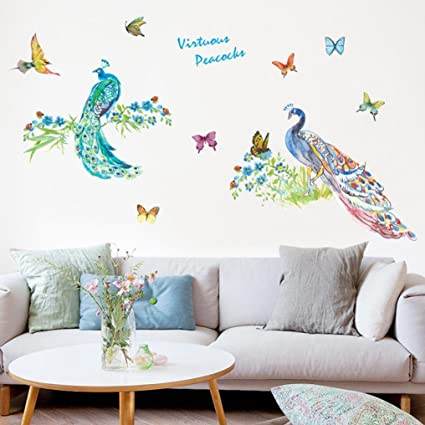 Gocheaper Decor Wall StickersRoom Art Decal DIY Peacocks Removable Mural