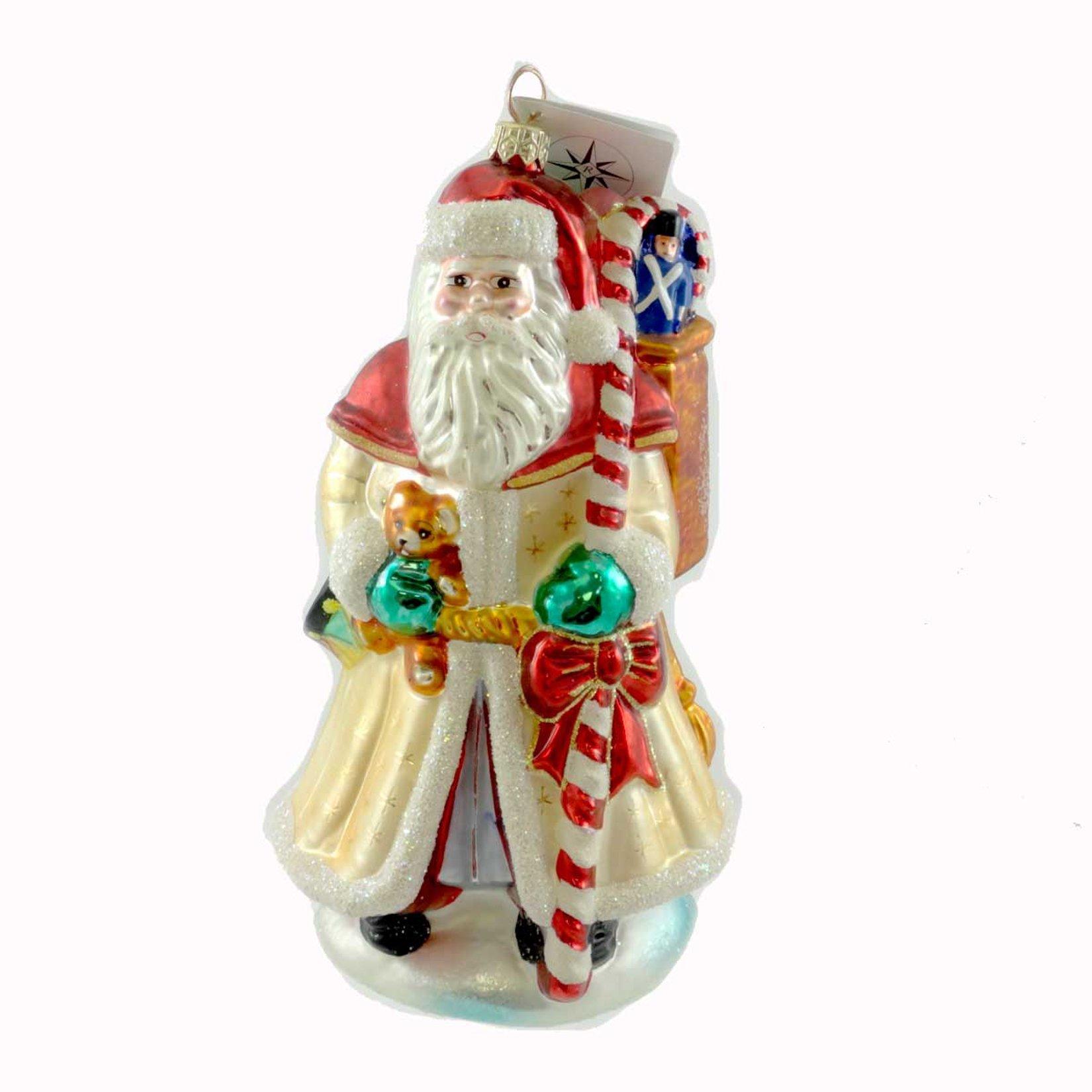 Christopher Radko VINTAGE PEARL SANTA Glass Ornament Christmas Bear Candy