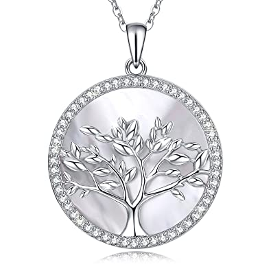 b8dea7bc2d Amazon.com: MEGACHIC Tree of Life Women's Sterling Silver Mother of Pearl Pendant  Necklace Earrings Crystals from Swarovski: Jewelry