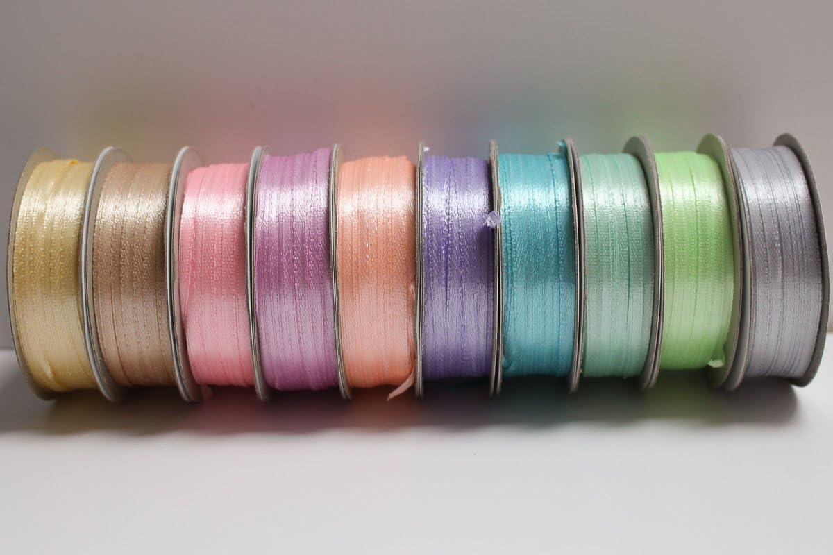 Lot de 10 bobines de ruban satin 3mm de large 50 metres de long chacune couleurs pastel
