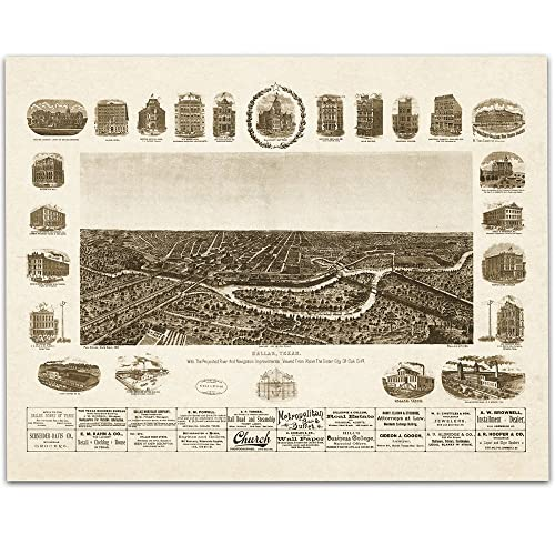 Amazon.com: Map of Dallas 1892 Art Print - 11x14 Unframed Art Print ...
