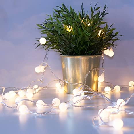luxlumi tiny white globe string lights with 50 warm white led remote control for multiple