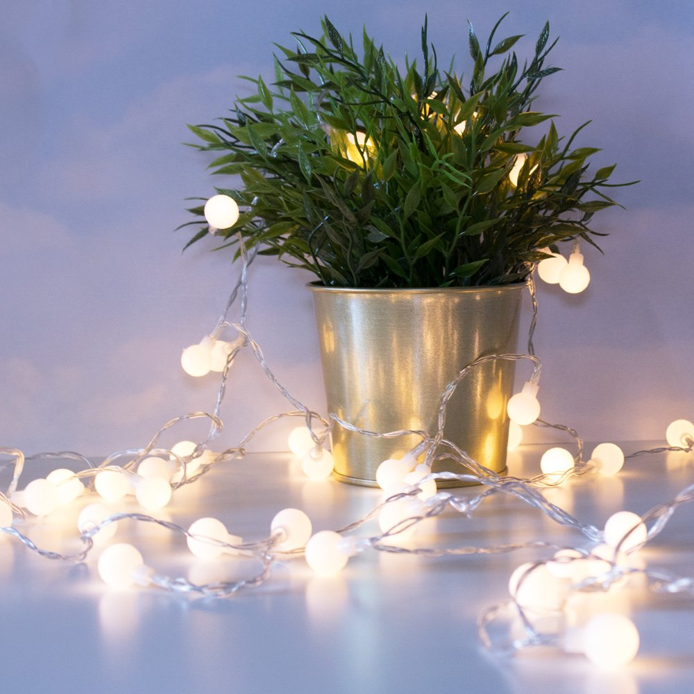 LuxLumi Tiny White Globe String Lights with 50 Warm White LED & Remote Control for Multiple Light Show Patterns for Birthday Party, Baby Shower, Bridal Shower & Home Décor (18FT (Batteries Included))