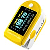 Facelake FL-350 Pulse Oximeter with Carrying Case & Batteries & Lanyard, Yellow