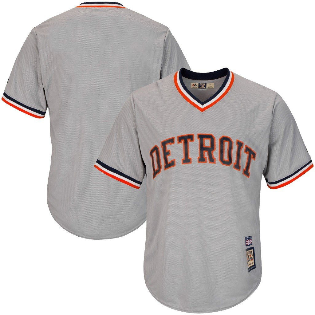 reputable site 07666 17f7b VF Detroit Tigers MLB Mens Majestic Cool Base Cooperstown V Neck Jersey  Gray Big & Tall Sizes