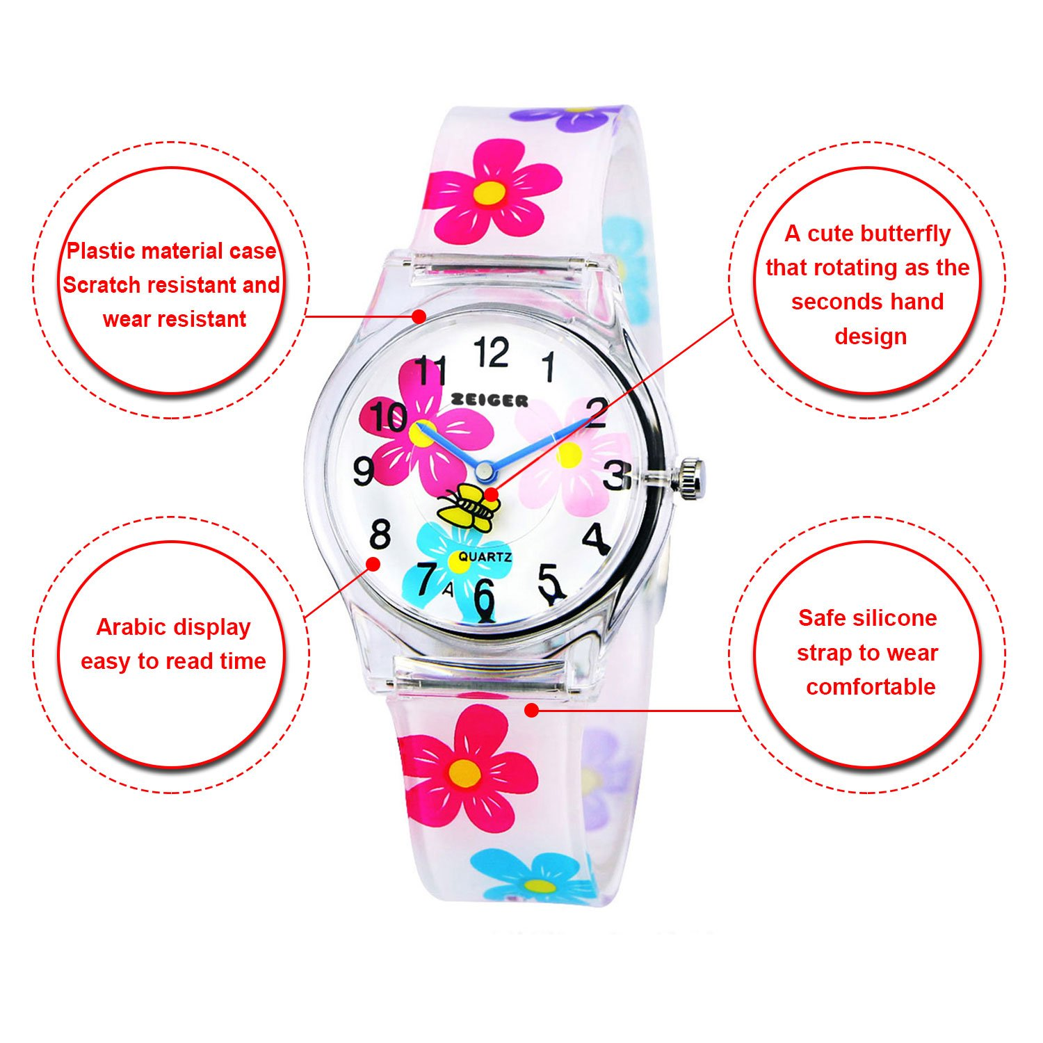 de11ae26095 Zeiger Kids Watches Cute Rotary Butterfly Watch for Child Beautiful Flower  Strap Watch for Girls Lovely Children Wrist Watch for Daughter KW009  ...