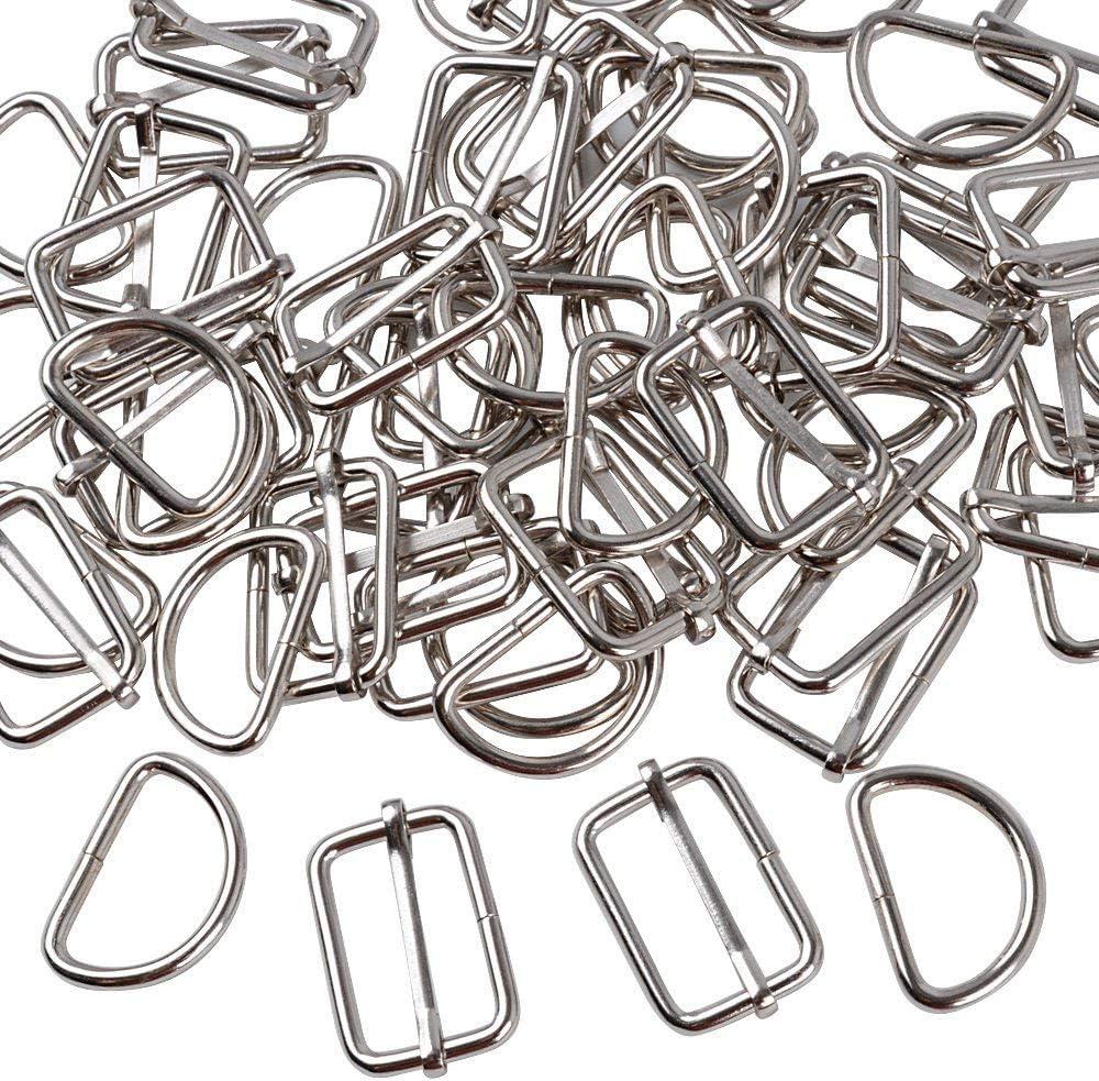 100 Piezas Hebillas Metal Tri-glide Ajustan Deslizante Metal Ajustable Anillas en D Plateadas Slide Hebilla Correa para Hacer Bolso de Mano, Mochila, Bolsa de Equipaje, Plata