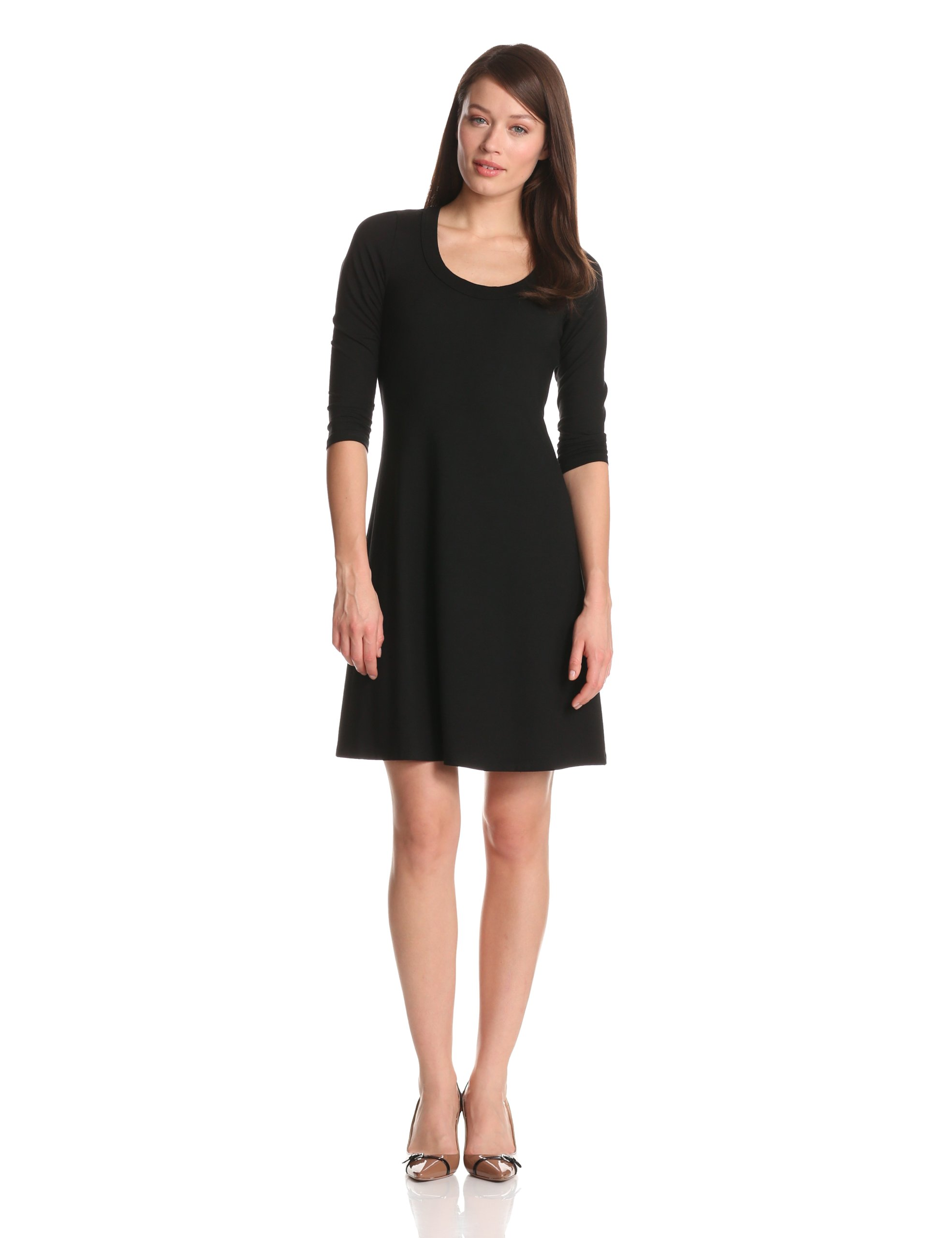 Karen Kane Women's 3/4 Sleeve A-Line Dress, Black, X-Large