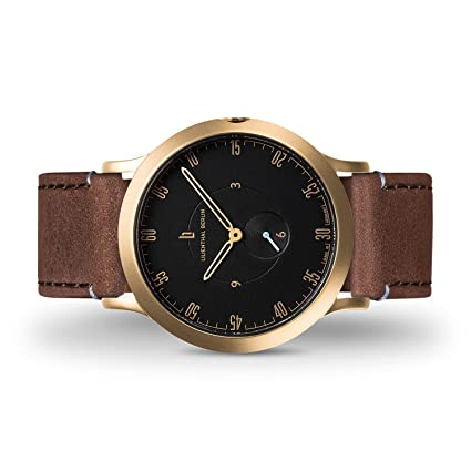 ... Berlin Watch - Made in Germany - Designed in Berlin. Model L1 with Stainless Steel Case (Size: 37.5 mm, Case: Gold/Dial: Black/Strap: Brown): Watches