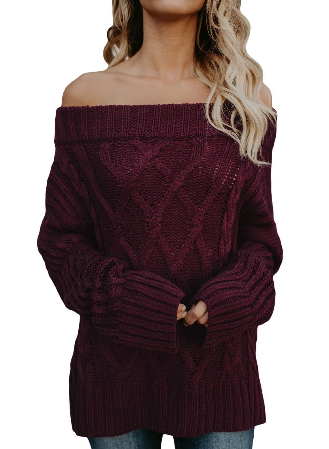 Women's Long Sleeve Off Shoulder Casual Loose Knit Pullover Sweaters Large 12 14 Wine