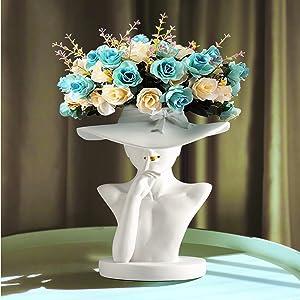 White Elegant Goddess Body Flower Vase for Decor, Greek Statue Bust Head Face Planter Pot for Indoor Plants, Minimalist Boho Chic Vase Modern Home Decor