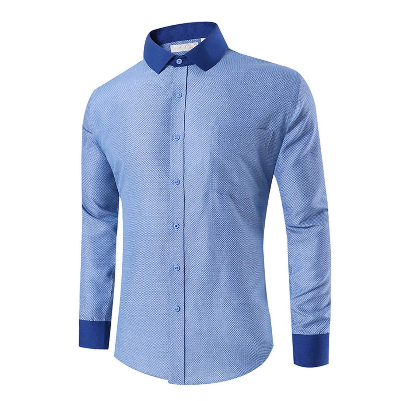 19a3e3eaea Amazon.com: Ting room 2019 Print Casual Shirts Men Formal Dress Shirts Men  Long Sleeve Plus Size Cotton Blue Men Shirt: Clothing