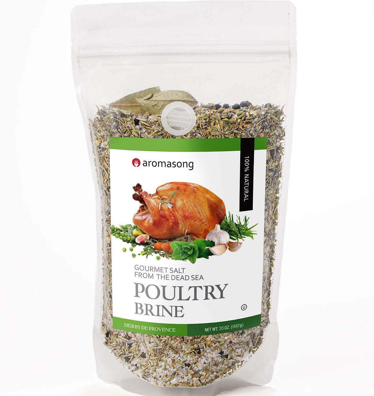 Aromasong Turkey Brine, HERBS DE PROVENCE, For Wet & Dry Brining, Bulk 2 Lb. Bag, 100% Natural, Gourmet Sea Salt Poultry Seasoning, for Roasting, Grilling, & Smoking for Brisket, Chicken, Pork & Beef.