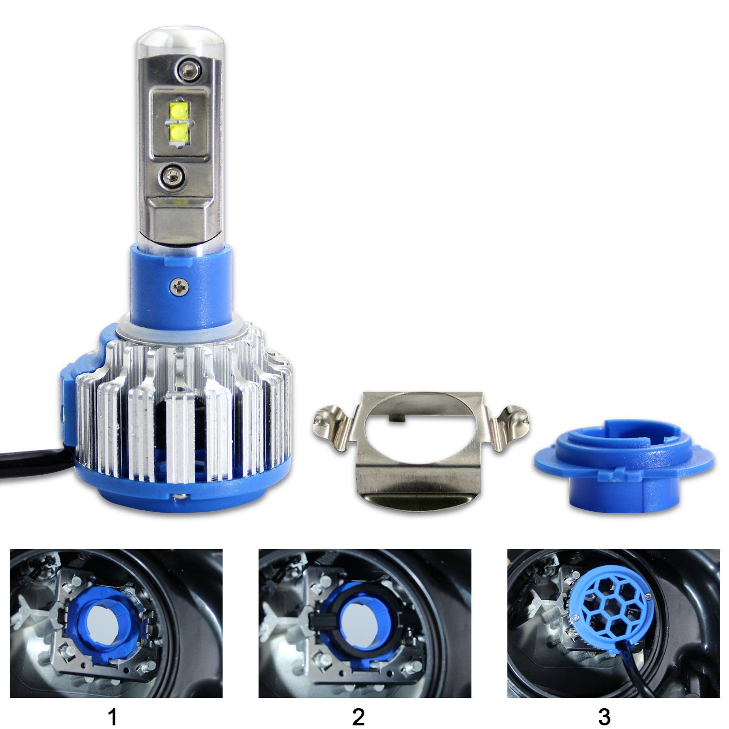 1 Pair Win Power H7 LED Headlight Low Beam Bulb Adapter Holder for Mazda CX5//CX7
