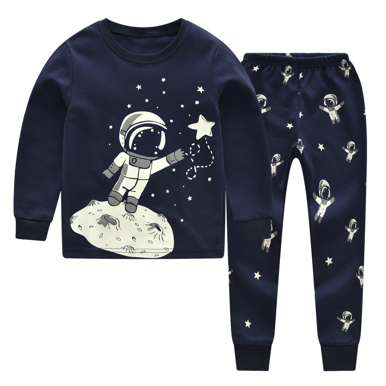 CNBABY Baby Pajamas Toddler Boy Sleepwear Glow-in-The-Dark Astronaut Cotton Sets
