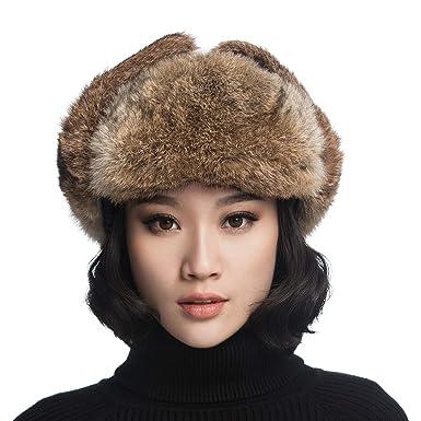 c57c103a75258 URSFUR Unisex Winter Trooper Hat Real Rabbit Fur Leather Russian Aviator Ushanka  Trapper Mask Brown