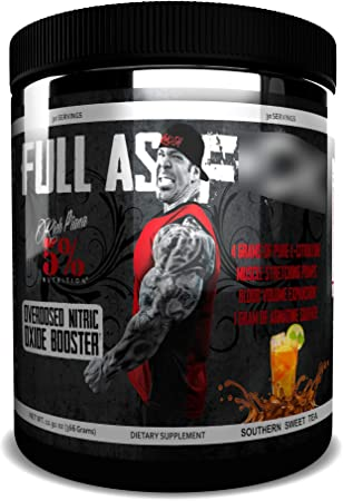 Rich Piana 5% Nutrition FAF Overdosed Nitric Oxide Boosting, Non-Stim, Pre-Workout Powder | Massive Pumps, Strength Gains & Endurance | Aminos, L-Citrulline, Agmatine | 12.9 oz (Southern Sweet Tea)
