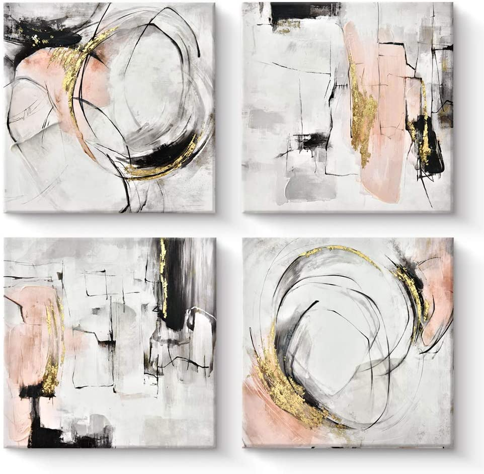 Pigort Abstract Wall Art, Set of 4 - Black and Pink Abstract Paintings, Modern Framed Canvas Artworks for Woman Girls Room Wall Decor