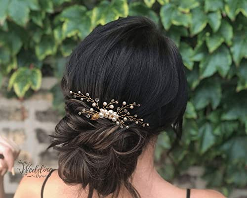 Hwd Louna Peigne Dore Vigne Cheveux Mariage Bijou Chignon Coiffure Mariee Perles Cristal Swarovski Couleur Au Choix Amazon Fr Handmade