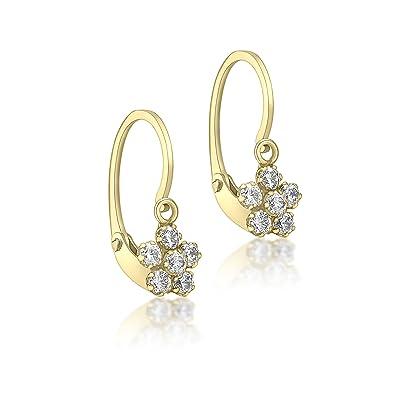 5acbb5044e6bc Carissima Gold Women's 9 ct Yellow Gold Cubic Zirconia Flower Drop Earrings