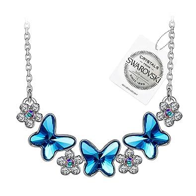 Kami Idea Joie du Printemps Collier pour Femme composés de Cristaux Swarovski  Papillon Bleu 7bb8bc3da30f