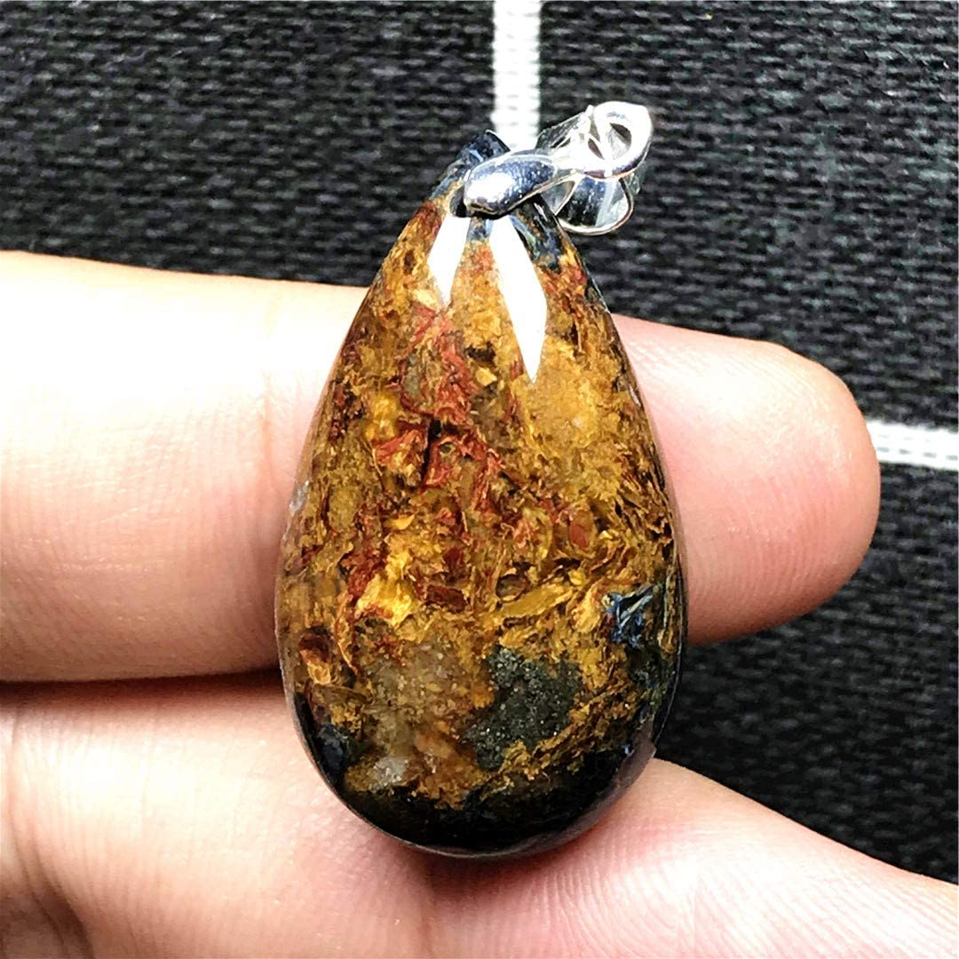 Pietersite Stone Natural Blue Yellow Pietersite Necklace Pendant Jewelry For Woman Man Crystal 29x16x7mm Water Drop Beads Silver Namibia Energy Gemstone AAAAA