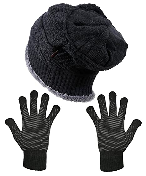 93db005a5dd HINDAWI Womens Slouchy Beanie Gloves Set Black Skull Cap Touch Screen  Mittens Knitted Winter Hat Windproof