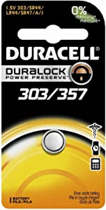 Duracell D303/357 Silver Oxide 1 Count, (Pack of 6)