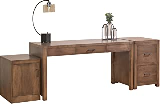 """product image for DutchCrafters Amish Solid Wood 60"""" Office Writing Desk with Rolling Door Cabinet and a 2-Drawer File Cabinet Made in America"""