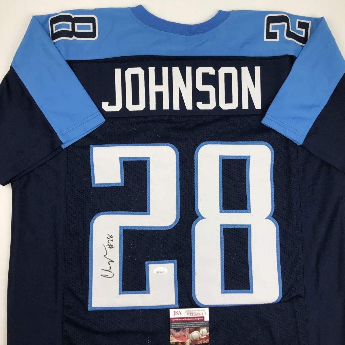 Autographed/Signed Chris Johnson Tennessee Dark Blue Football Jersey JSA COA
