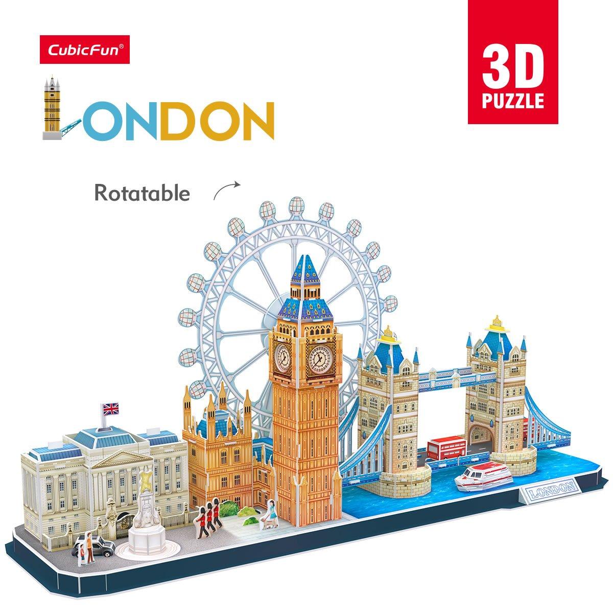 107 Pezzi CubicFun Puzzle 3D UK London Bridge Big Ben City Skyline Building Model Kit Regalo e Souvenir per Adulti e Bambini