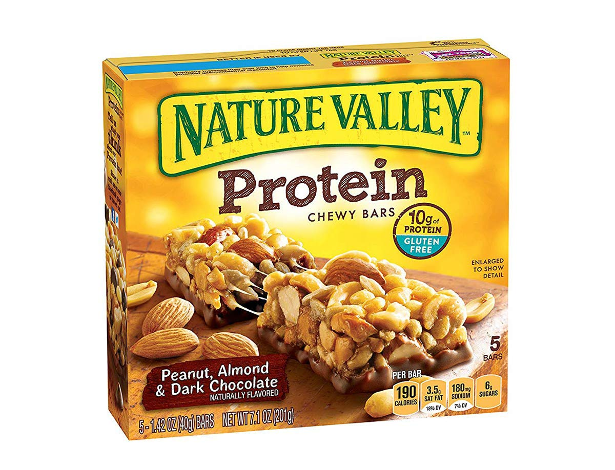 Nature Valley Chewy Granola Bar, Protein, Peanut, Almond and Dark Chocolate, Gluten Free, 1.4 Oz, 5 Bars (12 Boxes)