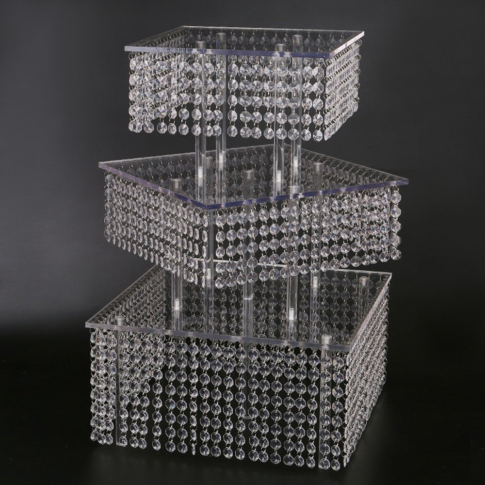 Diagonal Cupcake Stand 3 Tier Large Square real crystal and Freestanding Style Cupcake Tower 160 Cupcakes Wedding center piece by www.Beadingsupplys.com (Image #2)