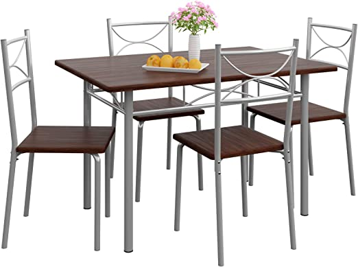 Casaria Conjunto de 1 Mesa y 4 sillas Berlín Muebles de Cocina y ...