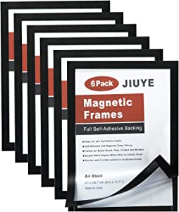 JIUYE 6 Pack Magnetic Sign Holder,8.3x11.7Inch Durable Self Adhesive Backing Magnetic Instant Display Frames Fit for Window/Door/Cupboard/Tiles at Home or Office (Black)