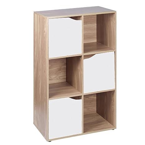 Cubi Di Legno Scaffale.Libreria In Legno Effetto Quercia 6 Cubi Modulari Scaffali Con 3 Ante Bianche