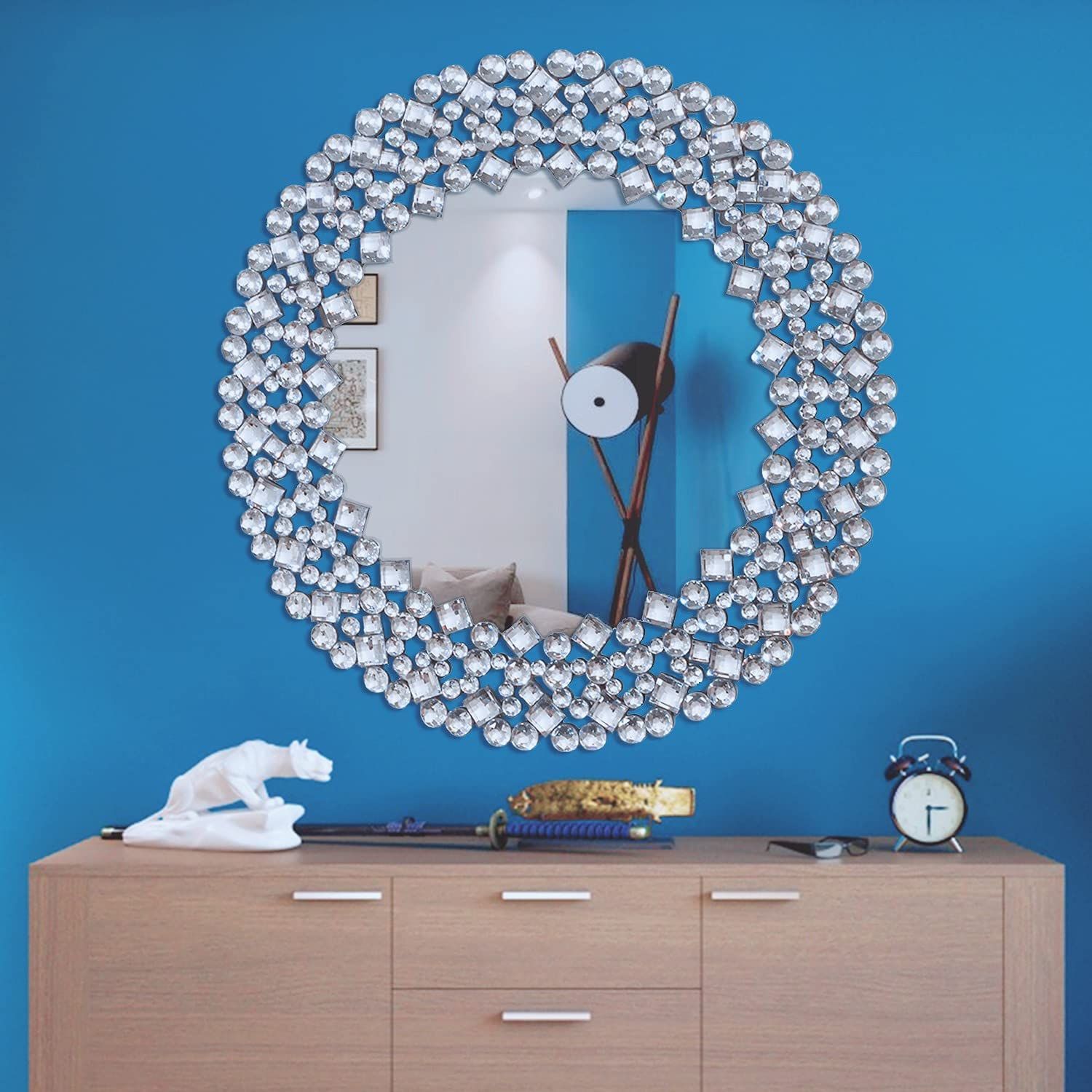SHYFOY Large Round Decorative Mirrors for Wall Decor, Antique Venetian Ornate Modern Accent Mirror for Bedroom, Bathroom, Living Room, Foyer (35.5