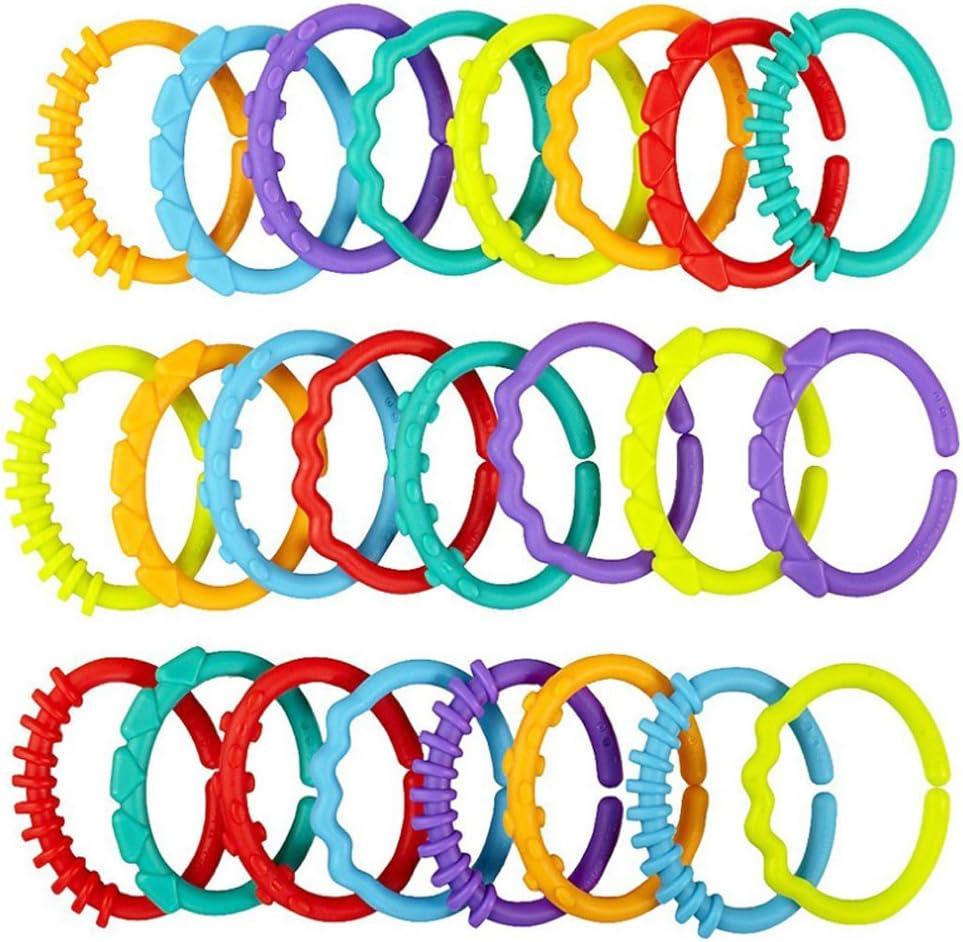 Isuper Cha/îne d/'activit/é pour poussette avec 24 anneaux de pr/éhension multicolores pour b/éb/é