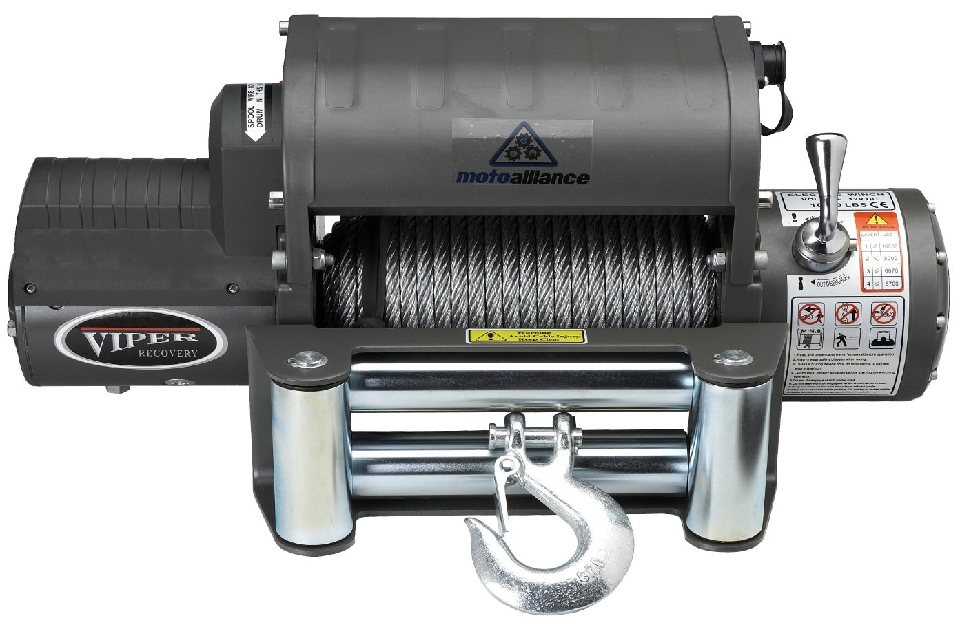 VIPER Winch 12000lb, Steel cable, wireless remote, integrated contactor
