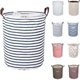 """DOKEHOM DKA0814BL 17.7"""" Laundry Basket (Available 17.7"""" and 19.7""""), Drawstring Waterproof Round Cotton Linen Collapsible Storage Basket (Blue Strips, M)"""