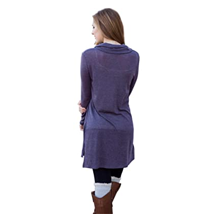 a24d2a1bfee ... MIXMAX Women Lapel Neck Long Sleeve Loose Dress Sides Slit Shirt Dress  (X-Large ...