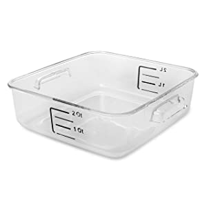 Rubbermaid Commercial Products Plastic Space Saving Square Food Storage Container For Kitchen/Sous Vide/Food Prep, 2 Quart, Clear (Fg630200Clr)