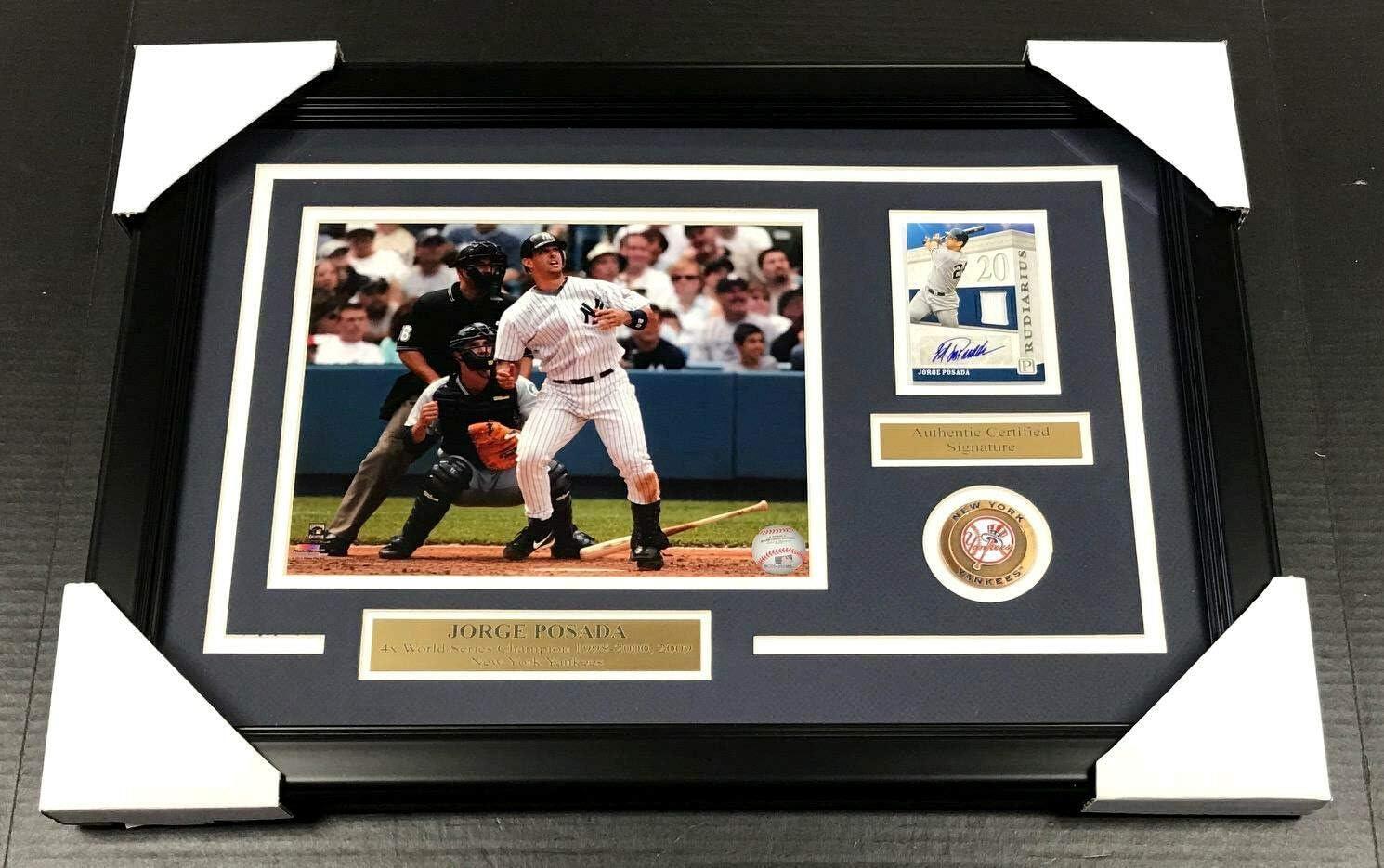 JORGE POSADA NEW YORK YANKEES SIGNED Autographed CARD W// 8x10 PHOTO FRAMED