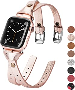 Minyee Leather Bands Compatible with Apple Watch 38mm 40mm for iWatch SE Womens Double Fasten 42mm 44mm Wristband Sleek Rose Gold Strap Unique Rivet Bracelet Series 6 5 4 3 2 1, 8 Colors