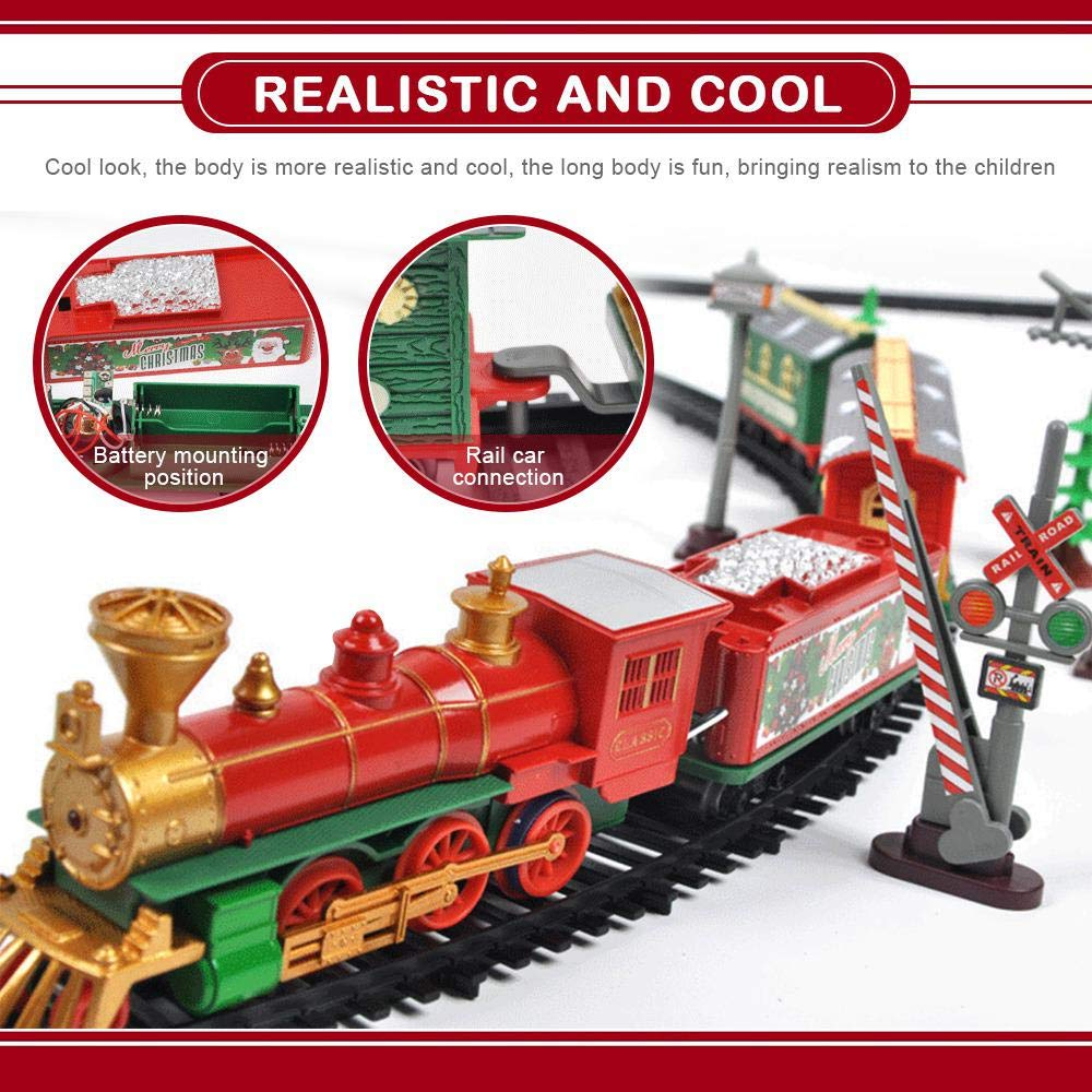 Electric Toy Train with Lights and Sounds MOGOI Christmas Train Set Round Shape Railway Tracks Around The Christmas Tree Xmas Gift for Kids